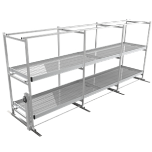 Multilayer mobile vertical grow racks with track